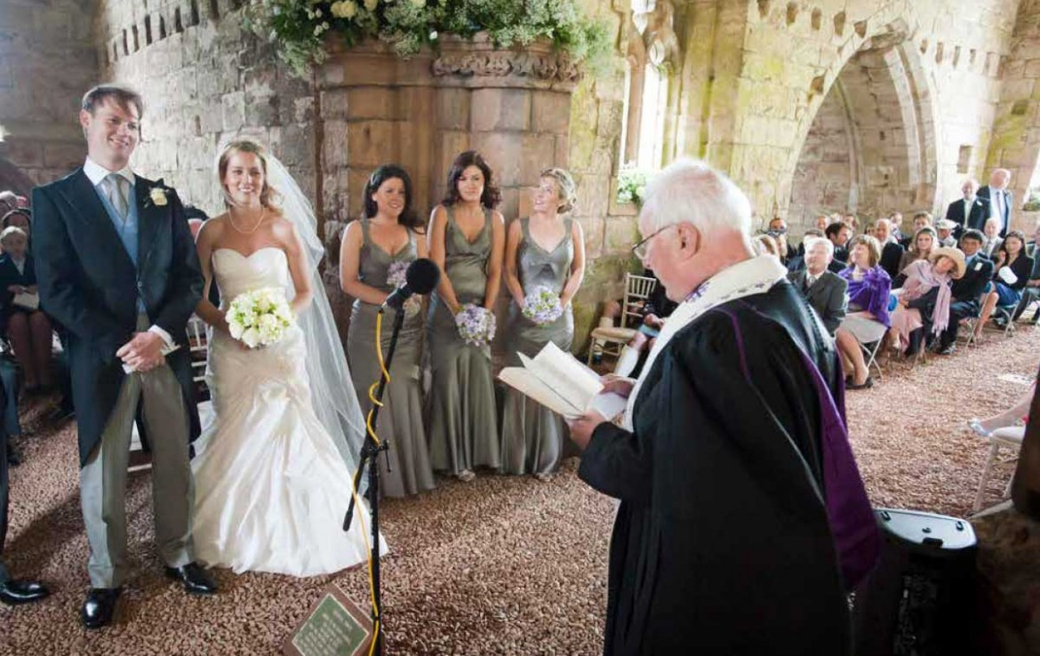 Wedding taking place in the church at Dunglass Country House Estate