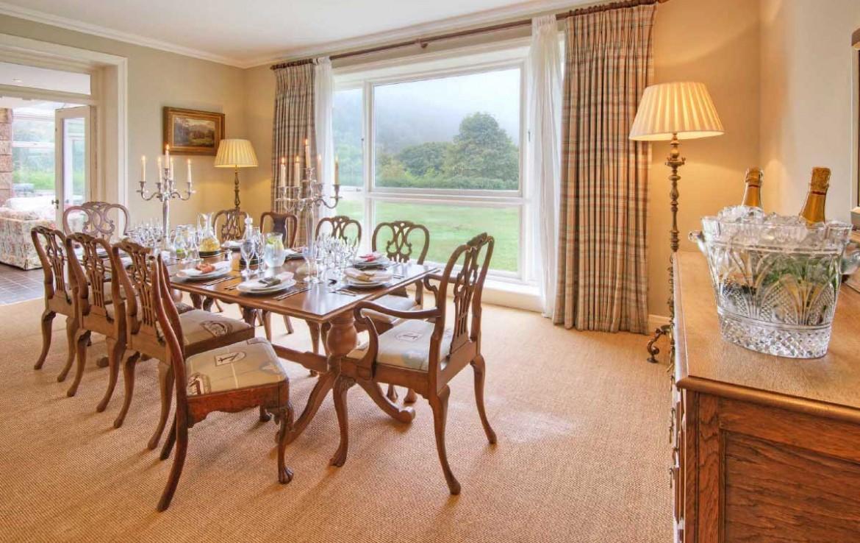 Dining Room in Dunglass Estate Cottage set up for dinner
