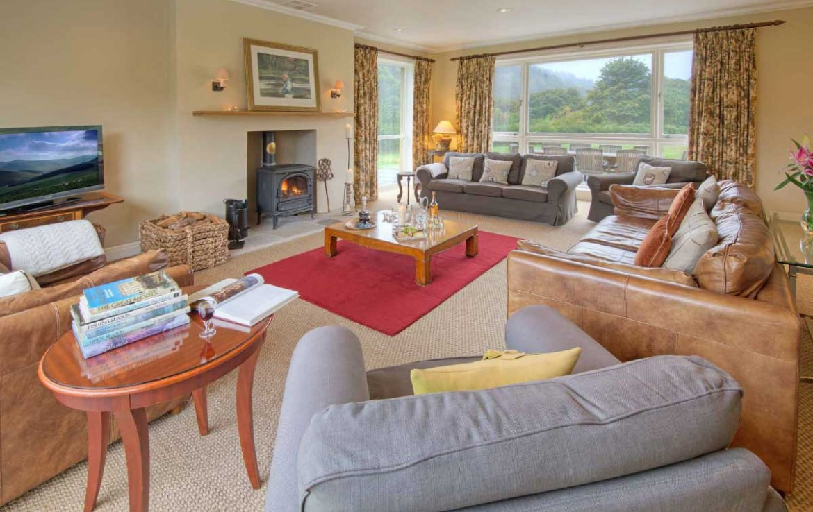 Dunglass Estate Cottage Living Room with Wood burner and couches