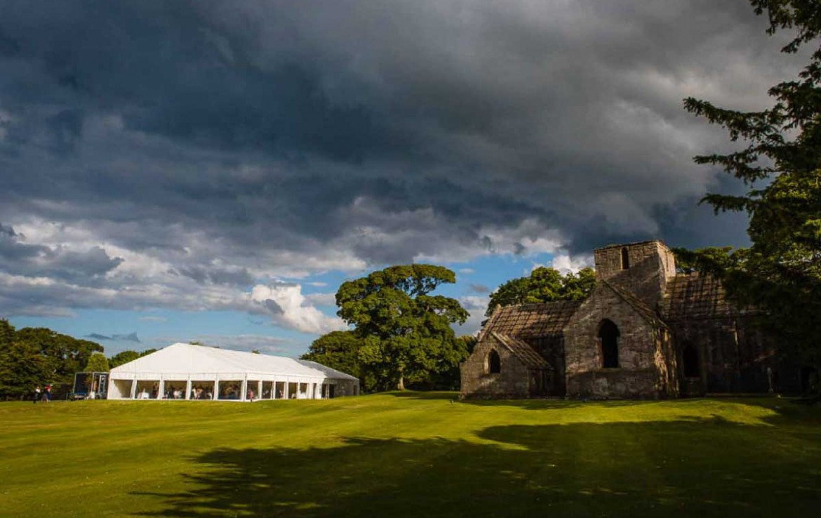 Wedding marquee set up at Dunglass Country Estate