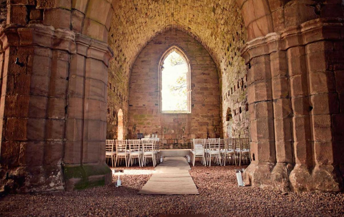 Dunglass Country House Estate chapel set up for a wedding