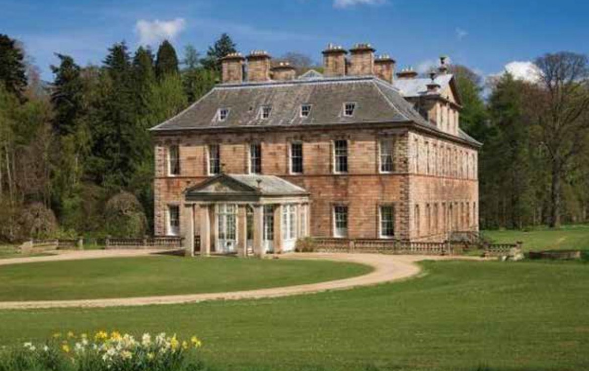 Image of Yester House from front with view of circular drive